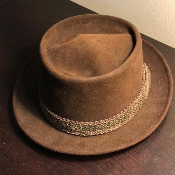 Stetson Mallory 1940s Vintage Brown Velvet Fedora d67c9e3ceaf